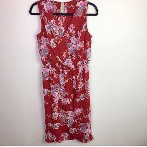 Evereve Allison Joy Red Floral Tulip Hem Dress